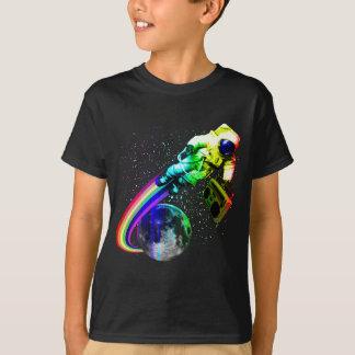 Boombox Astronauten-Raum-Mann - Regenbogen-Mond T-Shirt