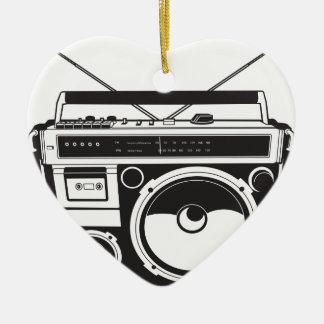 ☞ Boombox Oldschool / Cassette Player Keramik Herz-Ornament