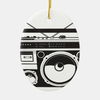 ☞ Boombox Oldschool / Cassette Player Ovales Keramik Ornament
