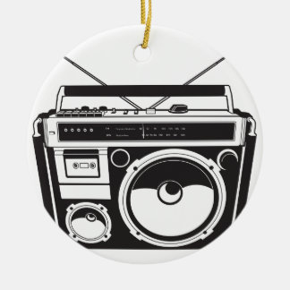 ☞ Boombox Oldschool / Cassette Player Rundes Keramik Ornament