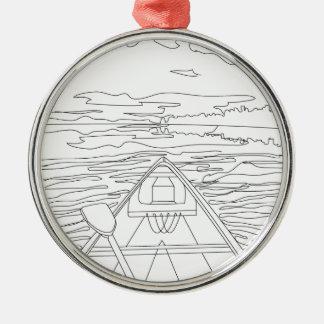 Boot auf dem See Rundes Silberfarbenes Ornament