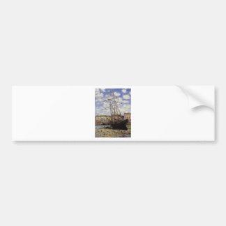 Boot bei Ebbe bei Fecamp durch Claude Monet Autoaufkleber