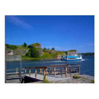 Boot, das Suomenlinna verlässt Postkarte