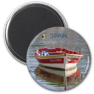 Boot der Ruder im Hafen Runder Magnet 5,7 Cm