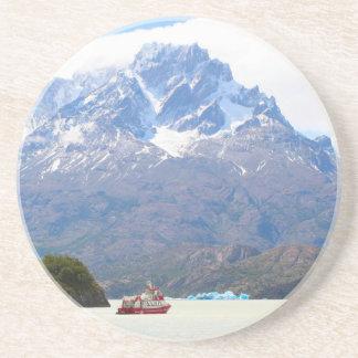 Boot und Berge, Patagonia, Chile Sandstein Untersetzer