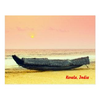 Boot und Sonnenuntergang, Kerala, Indien Postkarte