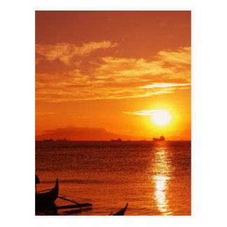 Boot und Sonnenuntergang Postkarten