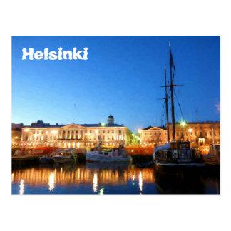 Boote am Helsinki-Markt-Quadrat auf Abend Postkarte
