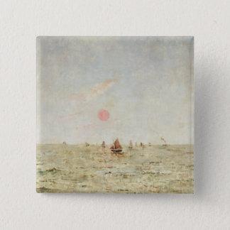 Boote am Sonnenaufgang (Öl auf Platte) Quadratischer Button 5,1 Cm