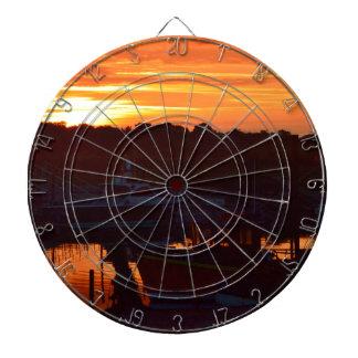 Boote am Sonnenuntergang Dartscheibe