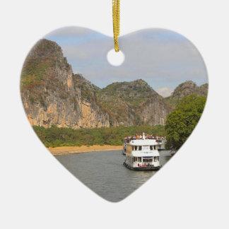 Boote auf dem Li-Fluss, China Keramik Ornament