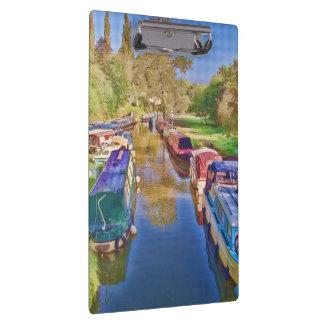 Boote auf dem Somerset-Kanal Klemmbrett