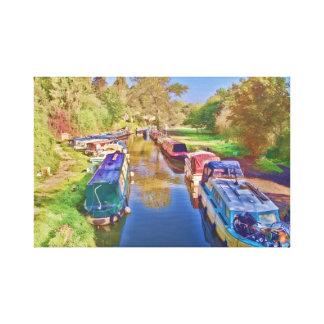 Boote auf dem Somerset-Kanal Leinwanddruck