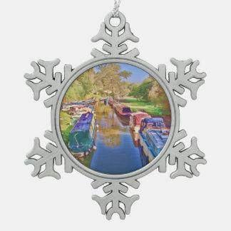 Boote auf dem Somerset-Kanal Schneeflocken Zinn-Ornament
