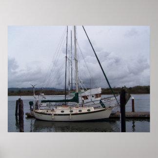 Boote auf der Bucht Poster