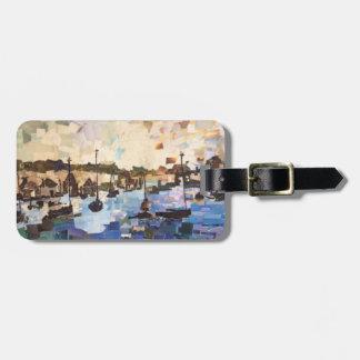 Boote auf Erieseepapiercollagen-Gepäckanhänger Gepäckanhänger