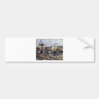Boote im Bau durch Berthe Morisot Autoaufkleber