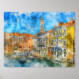 Boote im Canal Grande in Venedig Italien Poster