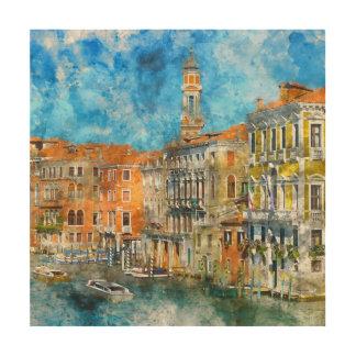 Boote im Canal Grande von Venedig Italien Holzwanddeko