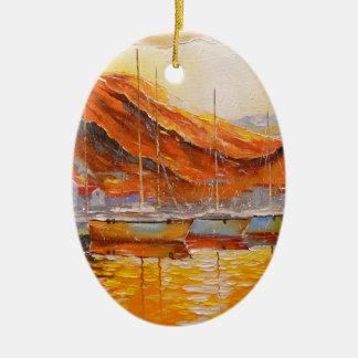 Boote im Hafen Ovales Keramik Ornament