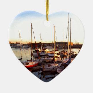 Boote im Jachthafen in Oakland, CA Keramik Ornament