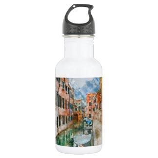 Boote in den Kanälen von Venedig Italien Edelstahlflasche