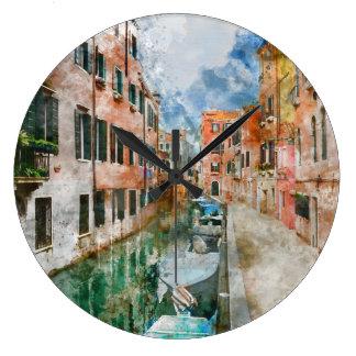 Boote in den Kanälen von Venedig Italien Große Wanduhr