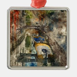 Boote in den Kanälen von Venedig Italien Silbernes Ornament