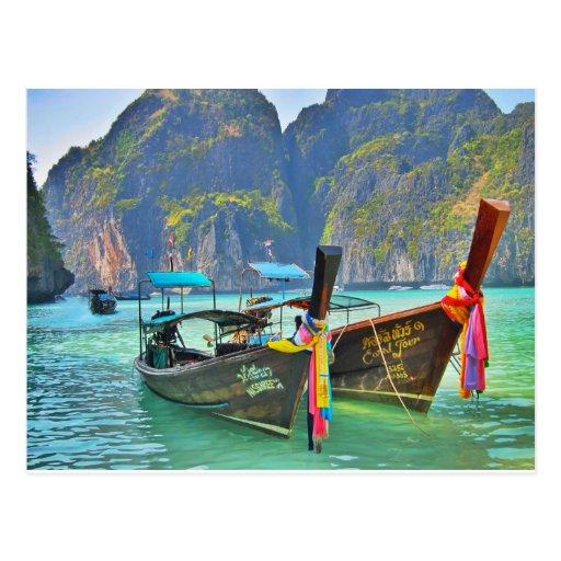 Boote in der Maya-Bucht Postkarte