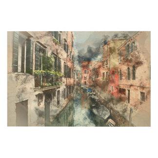 Boote Venedigs Italien im Kanal Holzleinwand