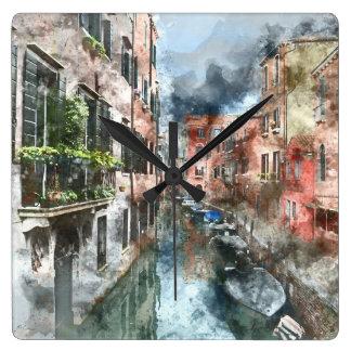 Boote Venedigs Italien im Kanal Quadratische Wanduhr