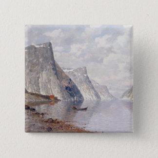 Bootfahrt auf einem norwegischen Fjord (Öl auf Quadratischer Button 5,1 Cm