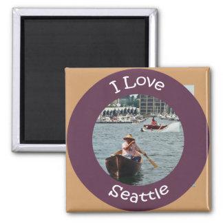 Bootfahrt auf See-Gewerkschafts-Kreis Quadratischer Magnet