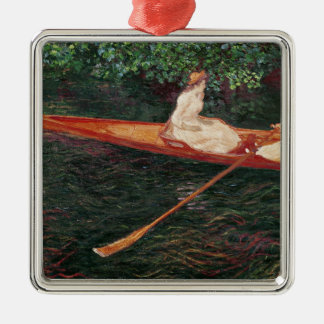 Bootfahrt Claude Monets | auf dem Fluss Epte Silbernes Ornament
