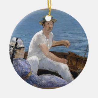 Bootfahrt - Édouard Manet Rundes Keramik Ornament