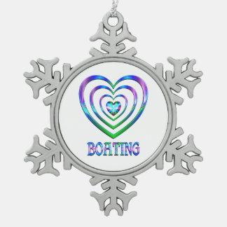 Bootfahrt-Herzen Schneeflocken Zinn-Ornament