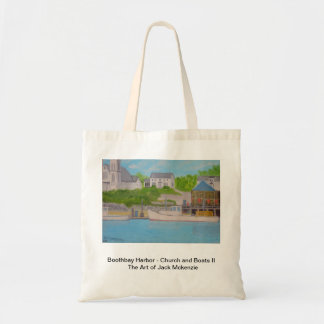 Boothbay Hafen - Kirche und Boote Budget Stoffbeutel