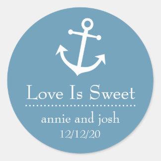 Boots-Anker-Liebe ist süße Aufkleber (blaues Grau)