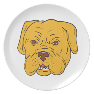 Bordeaux-Hundekopf-Cartoon Melaminteller