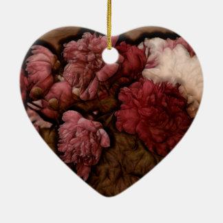 Bordeaux-Pfingstrosen-Blumen-Blumenstrauß Keramik Herz-Ornament