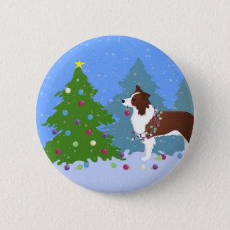 Border-Collie-Hund, der Weihnachtsbaum verziert Runder Button 5,1 Cm