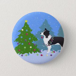 Border-Collie-Hund, der Weihnachtsbaum verziert Runder Button 5,7 Cm