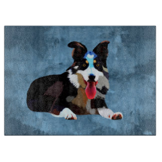 Border-Collie-HundeAquarell-Kunst-Porträt Schneidebrett