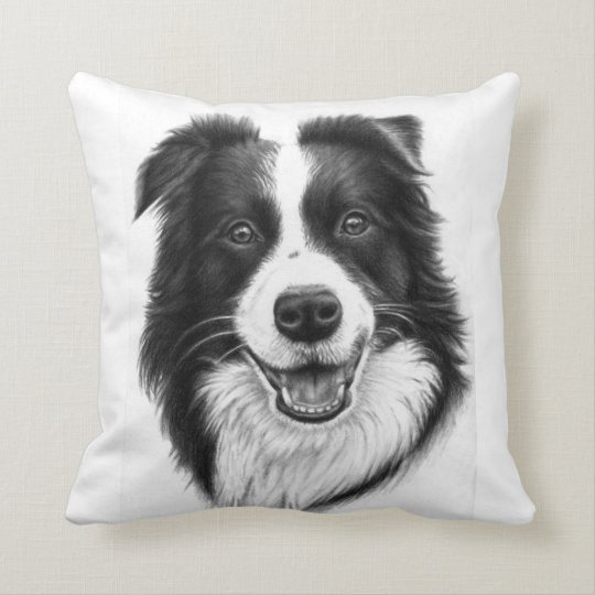 Border Collie Portrait Kissen