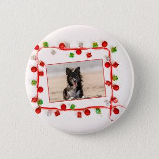 Border-Collie-Weihnachten Runder Button 5,7 Cm