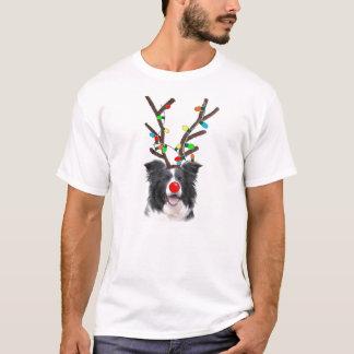 Border-Collie-Weihnachten Tee~Reindeer T-Shirt