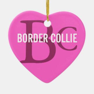 Border-Collie-Zucht-Monogramm Keramik Herz-Ornament