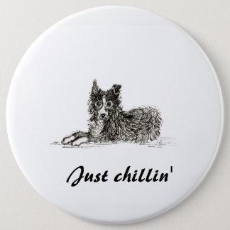 Border-Colliehund, gerade chillin Runder Button 15,3 Cm