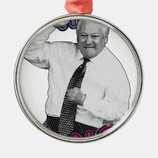 Boris Jelzin Tanz-Tanz-heißer Sommer 1996 Rundes Silberfarbenes Ornament