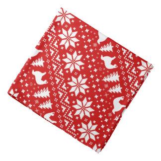 Borzoi-Silhouette-Weihnachtsmuster-Rot Halstuch